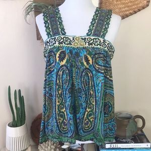 Free People Turquoise Paisley Blouse L